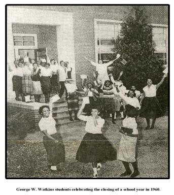 George Watkins Students celebrating the last day of classes 1960