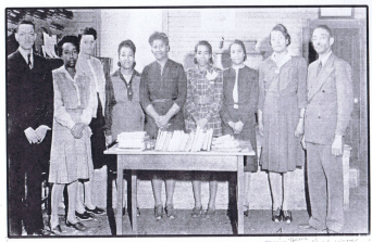 Staff of the New Kent Training School – 1937 FROM L TO R: Stansley Brown, Anita Yelverton, Eva John Brown, Mary Hawkins, Mary Murray, Oraphine Crump (Secretary), Mrs. Thelma Watkins (Teacher/Librarian), Eva John Brown, Rev. Dr. George. W. Watkins, Principal